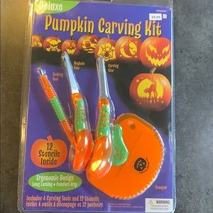 DELUXE PUMPKIN CARVING TOOL KIT STENCILS HALLOWEEN